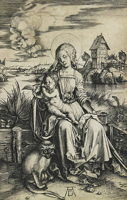 Ape Drawing - Virgin And Child With The Monkey by Albrecht Durer