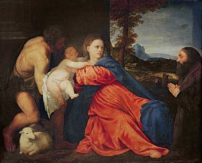 Virgin And Infant With Saint John The Baptist And Donor Print by Titian