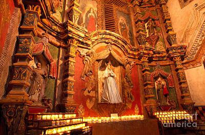 Virgin Mary Statue Candles Mission San Xavier Del Bac Print by Thomas R Fletcher