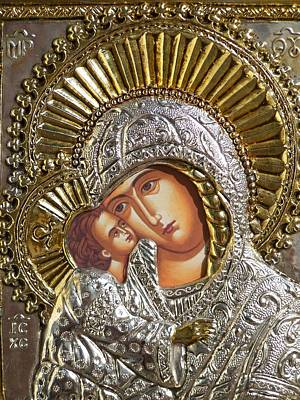 Greek Icon Photograph - Virgin Mary With Child Jesus Greek Icon by Jake Hartz