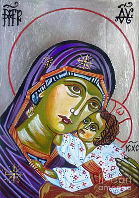 Jesus Christ Icon Painting - Virgin Of Tenderness Eleusa by Ryszard Sleczka