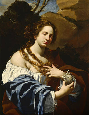 Painting - Virginia Da Vezzo The Artist's Wife As The Magdalen by Simon Vouet
