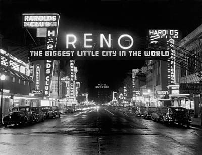 1950s Art Photograph - Virginia Street In Reno by Underwood Archives