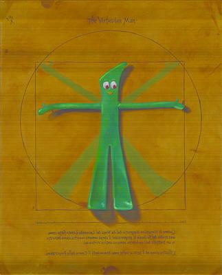 Humor. Painting - Virtuvian Man by Judy Sherman