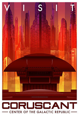 Galactic Digital Art - Visit Coruscant by Christopher Ables