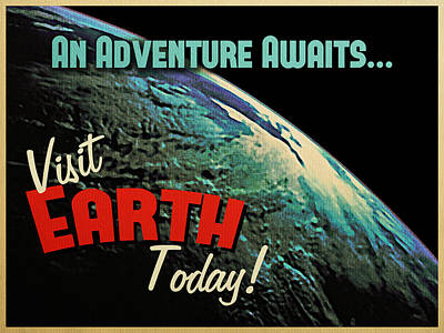 Astronomy Digital Art - Visit Earth Today by Flo Karp