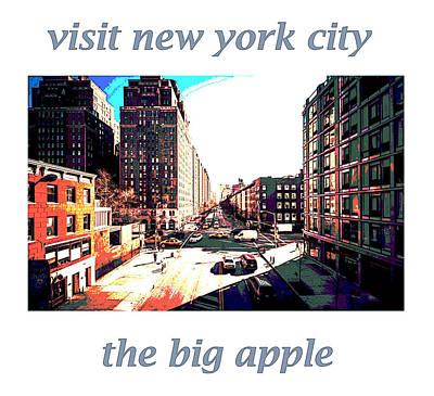 visit N Y C  retro poster  Print by Enki Art