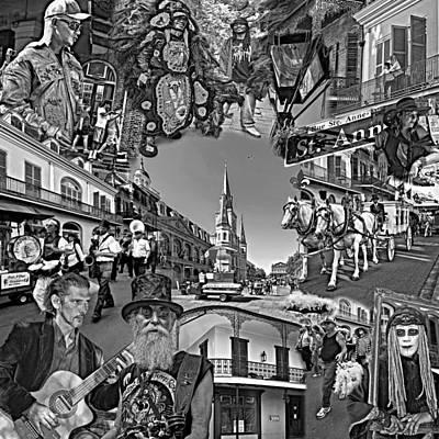 Black And White Horses Digital Art - Vive Les French Quarter Monochrome by Steve Harrington