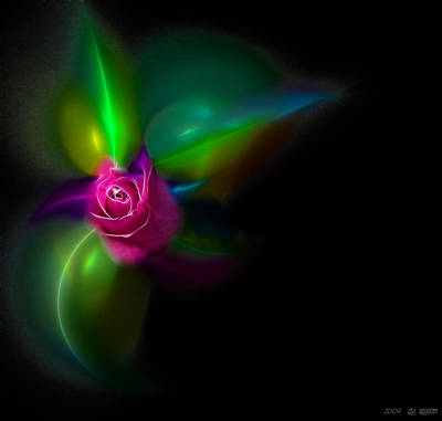 Algorithmic Mixed Media - Vivid Rose by Lea Wiggins
