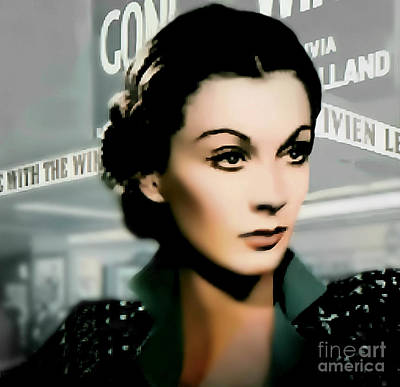 Classic Film Star Mixed Media -  Vivien Leigh - Actress by Ian Gledhill