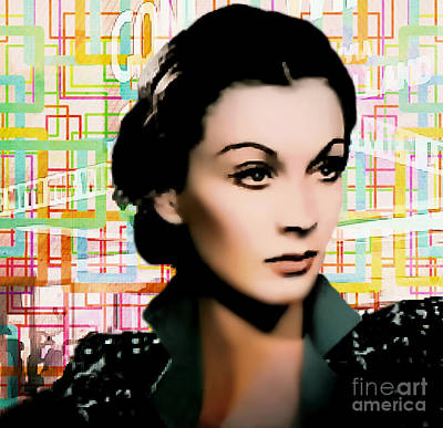 Classic Film Star Mixed Media - Vivien Leigh - Actress Pop Art by Ian Gledhill