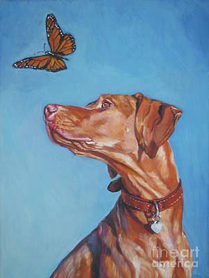Rust Painting - Vizsla And The Butterfly by Lee Ann Shepard