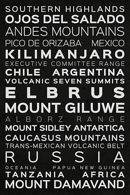 Russia Digital Art - Volcanic Seven Summits Typography On Black by Jurq Studio