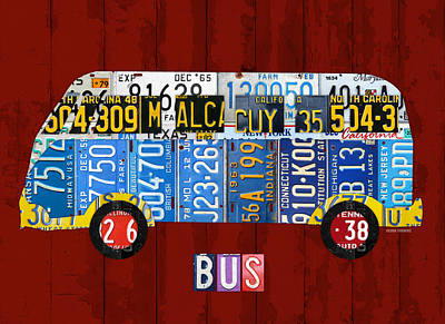 Bus Mixed Media - Volkswagen Vw Bus Vintage Classic Retro Vehicle Recycled License Plate Art Usa by Design Turnpike