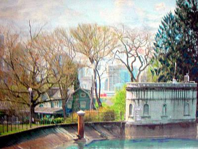 Park Scene Painting - Volunterr Park Reservoir by Maro Kentros