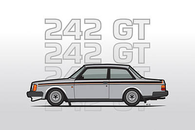 Volvo 242 Gt 200 Series Coupe Print by Monkey Crisis On Mars