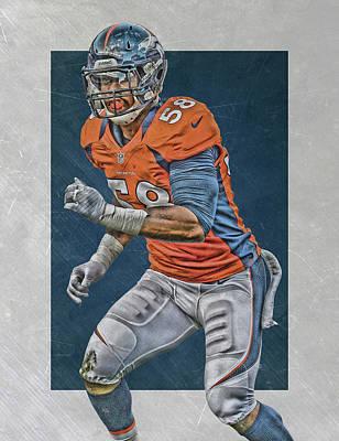 Von Miller Denver Broncos Art 2 Print by Joe Hamilton