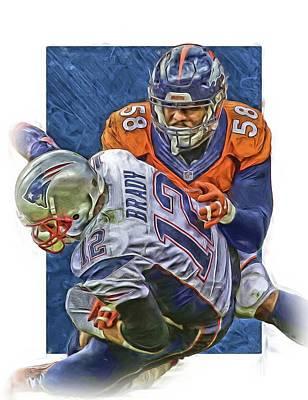 Von Miller Denver Broncos Oil Art4 Print by Joe Hamilton