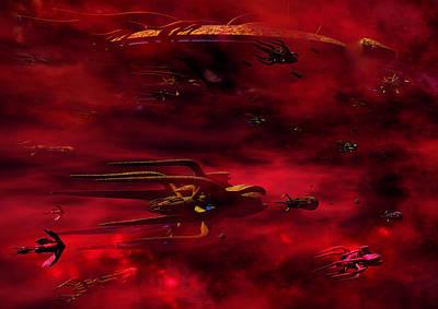 Babylon 5 Digital Art - Vorlon Fleet by Joseph Soiza