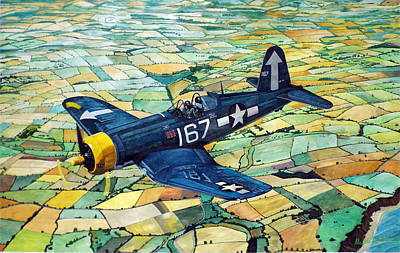 Corsair Fighter Painting - Quiet Sky - Vought F4u-1d Corsair by Martin Hall