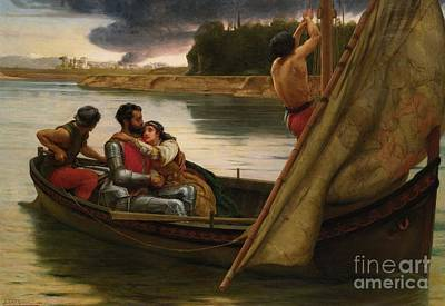Voyage Of King Arthur And Morgan Print by Frank William