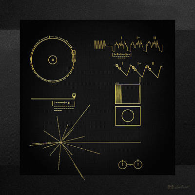 Voyager Golden Record Cover On Black Canvas Original by Serge Averbukh