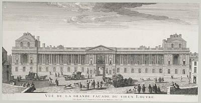 Louvre Painting - Vue De La Grande Facade Du Vieux Louvre by Jacques Rigaud