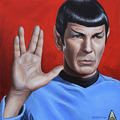 Captain Kirk Painting - Vulcan Farewell by Kim Lockman