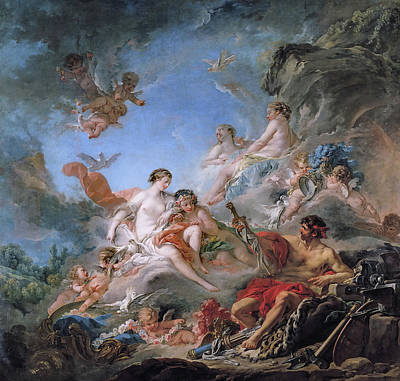 Hero Painting - Vulcan Presenting Venus With Arms For Aeneas by Francois Boucher