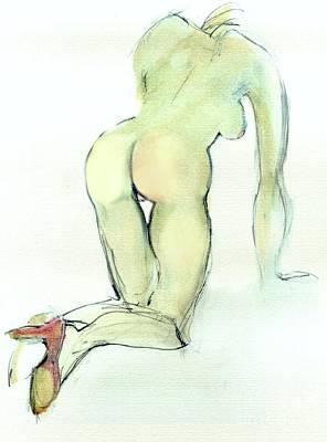 Vulnerable - Nude Female Print by Carolyn Weltman