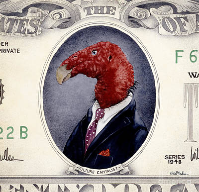 Vulture Painting - Vulture Capitalist... by Will Bullas