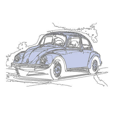 Sneakers Mixed Media - Vw Beetle by Michael Lax