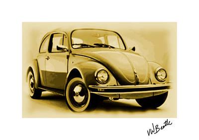 Vw Beetle Digital Art - Vw Beetle by Enki Art
