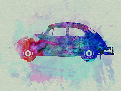 Cars Drawing - Vw Beetle Watercolor 1 by Naxart Studio