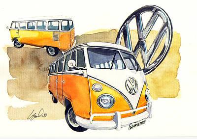 Bus Painting - Vw Kombi by Yoshiharu Miyakawa