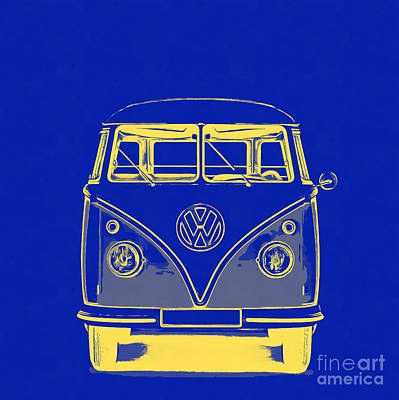 Bus Photograph - Vw Van Blue Yellow Graphic by Edward Fielding