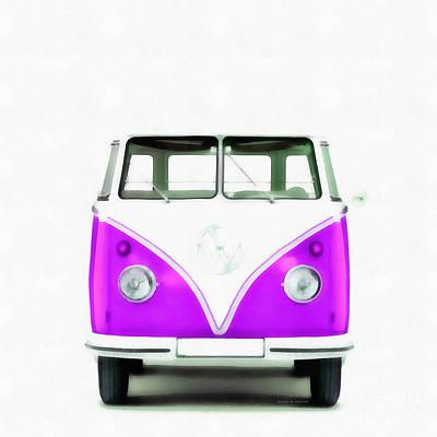 Straight Digital Art - Vw Van Purple Painting by Edward Fielding