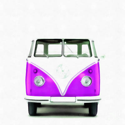 1960s Painting - Vw Van Purple Painting by Edward Fielding