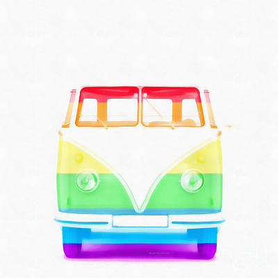 Straight Digital Art - Vw Van Rainbow by Edward Fielding