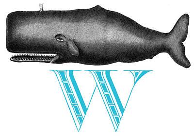 Scrimshaw Digital Art - W Whale by Thomas Paul