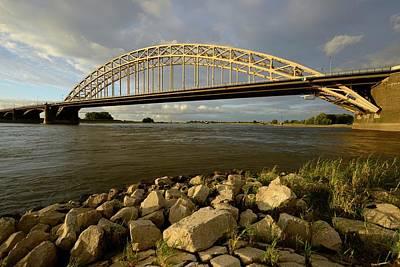 Waal Bridge Over The Waal River In Nijmegen  Print by Merijn Van der Vliet