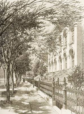 Old Street Drawing - Wabash Avenue, Chicago, Illinois In by Vintage Design Pics