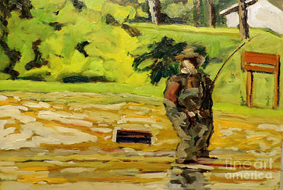 Waders On The Mississinew Reservoir Framed Plein Air Original by Charlie Spear