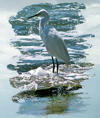 Stork Mixed Media - Wading In The Waves by Debra     Vatalaro