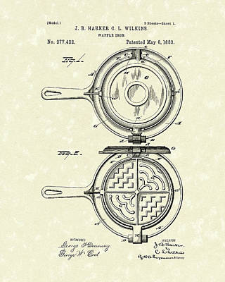 Breakfast Drawing - Waffle Iron 1883 Patent Art by Prior Art Design
