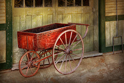 Wagon - That Old Red Wagon  Print by Mike Savad