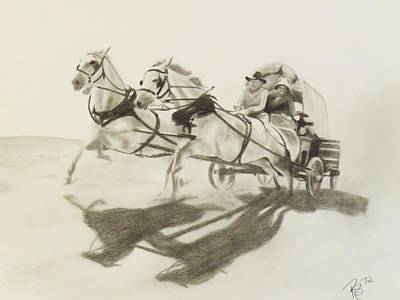 Horse And Cart Drawing - Wagons West by Rachel Beck