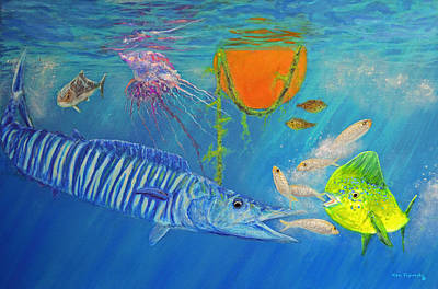Triggerfish Painting - Wahoo Dolphin Painting by Ken Figurski