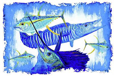 Keys Painting - Wahoo Tuna Sailfish Modern Colorful by Ken Figurski