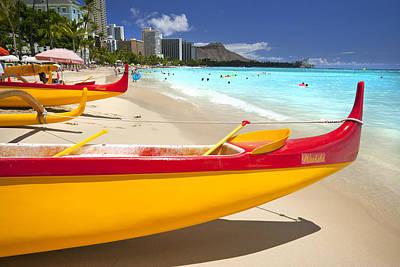 Waikiki Photograph - Waikiki Outriggers by Sean Davey